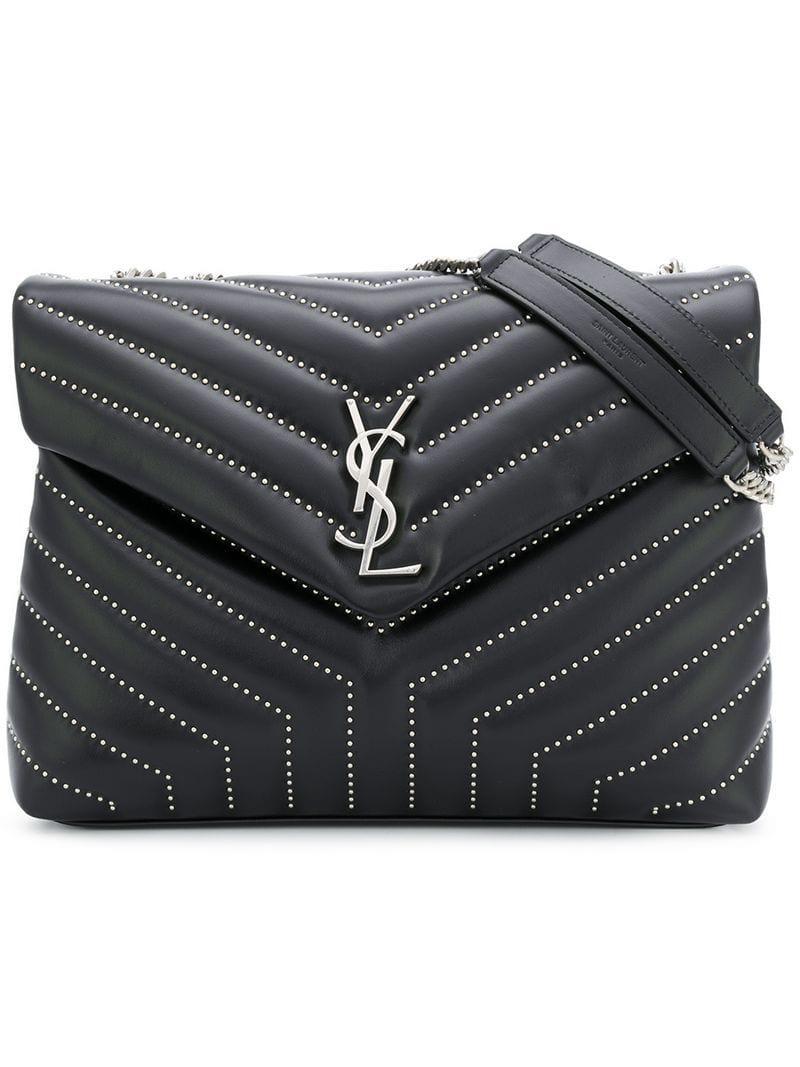 6dcdd7d4100e Saint Laurent Monogram Quilted Shoulder Bag in Black - Lyst