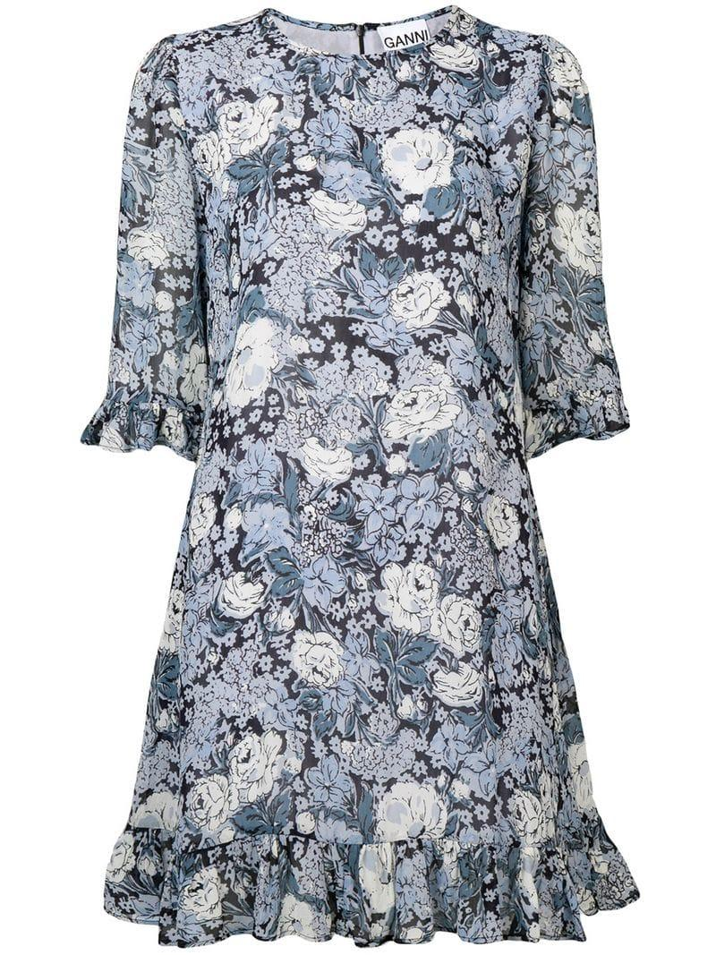 5eae9844 Ganni - Blue Floral Print Dress - Lyst. View fullscreen