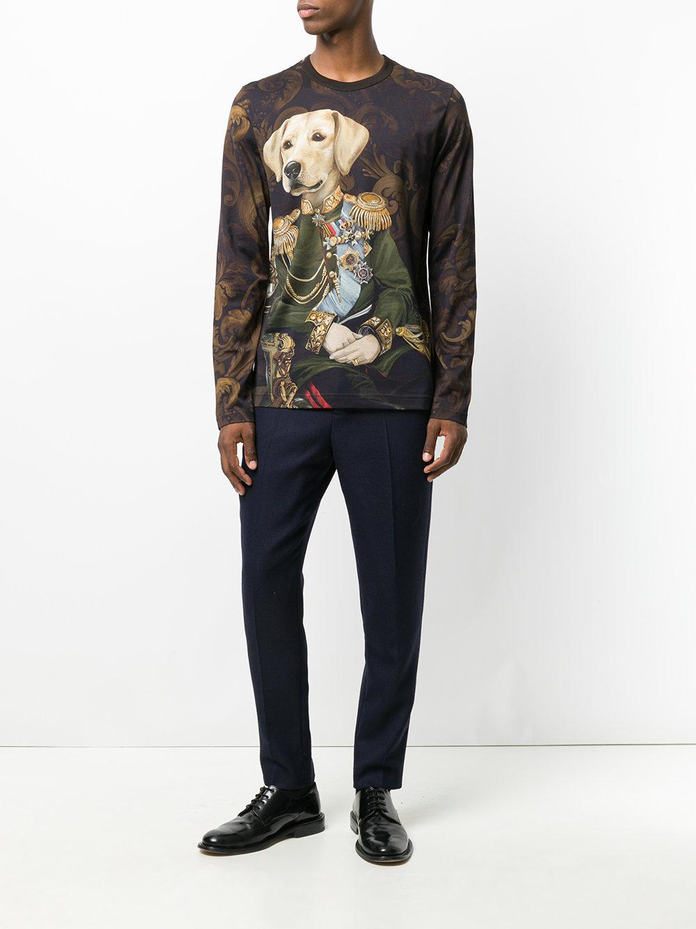 c1fb5a36 Dolce & Gabbana Dog Soldier Print Top in Brown for Men - Lyst