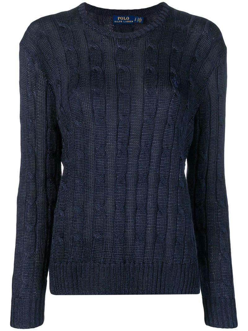 a2f9bffbad2 Lyst - Pull en maille torsadée Polo Ralph Lauren en coloris Bleu