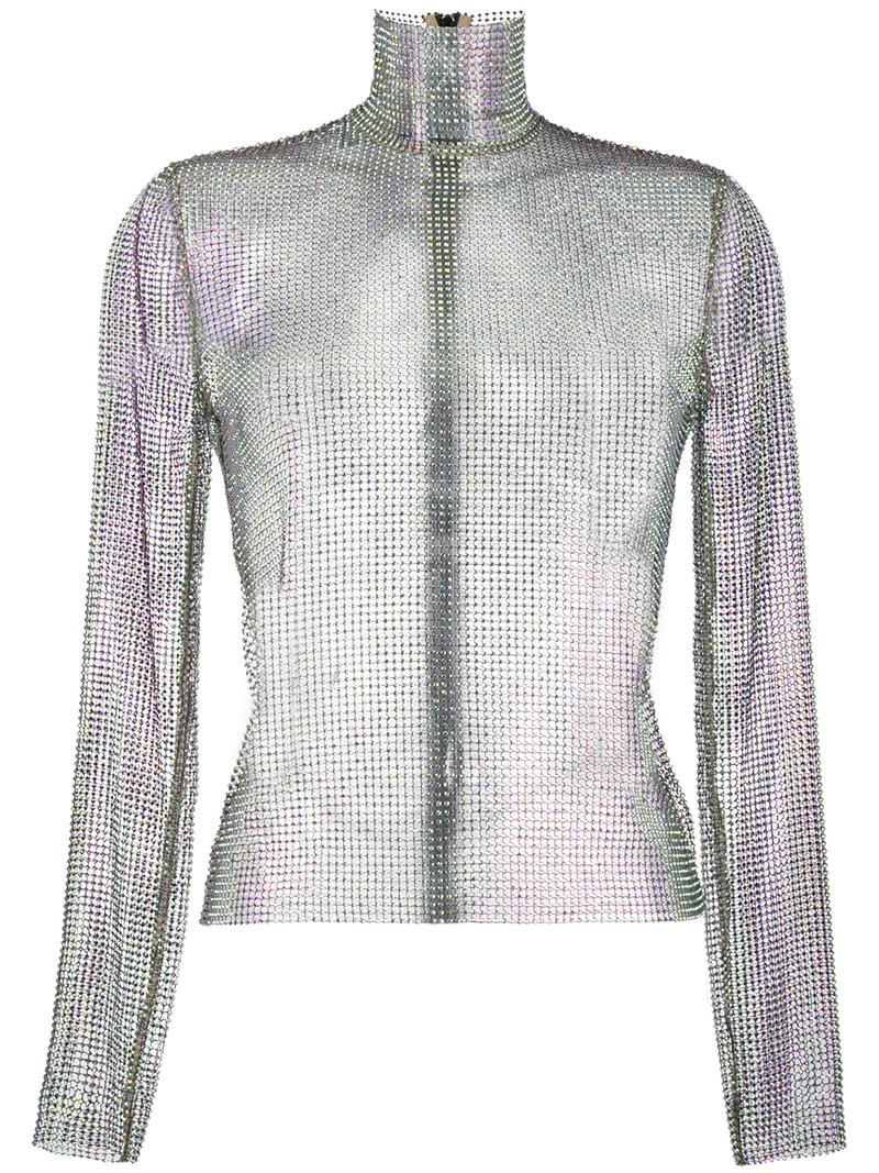 d919ce6b6 Gucci Crystal Mesh High Neck Top in Metallic - Lyst