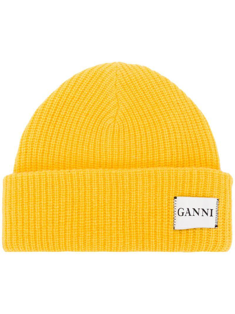 Ganni Hatley Knit Hat in Yellow - Lyst 998a3a32d13d