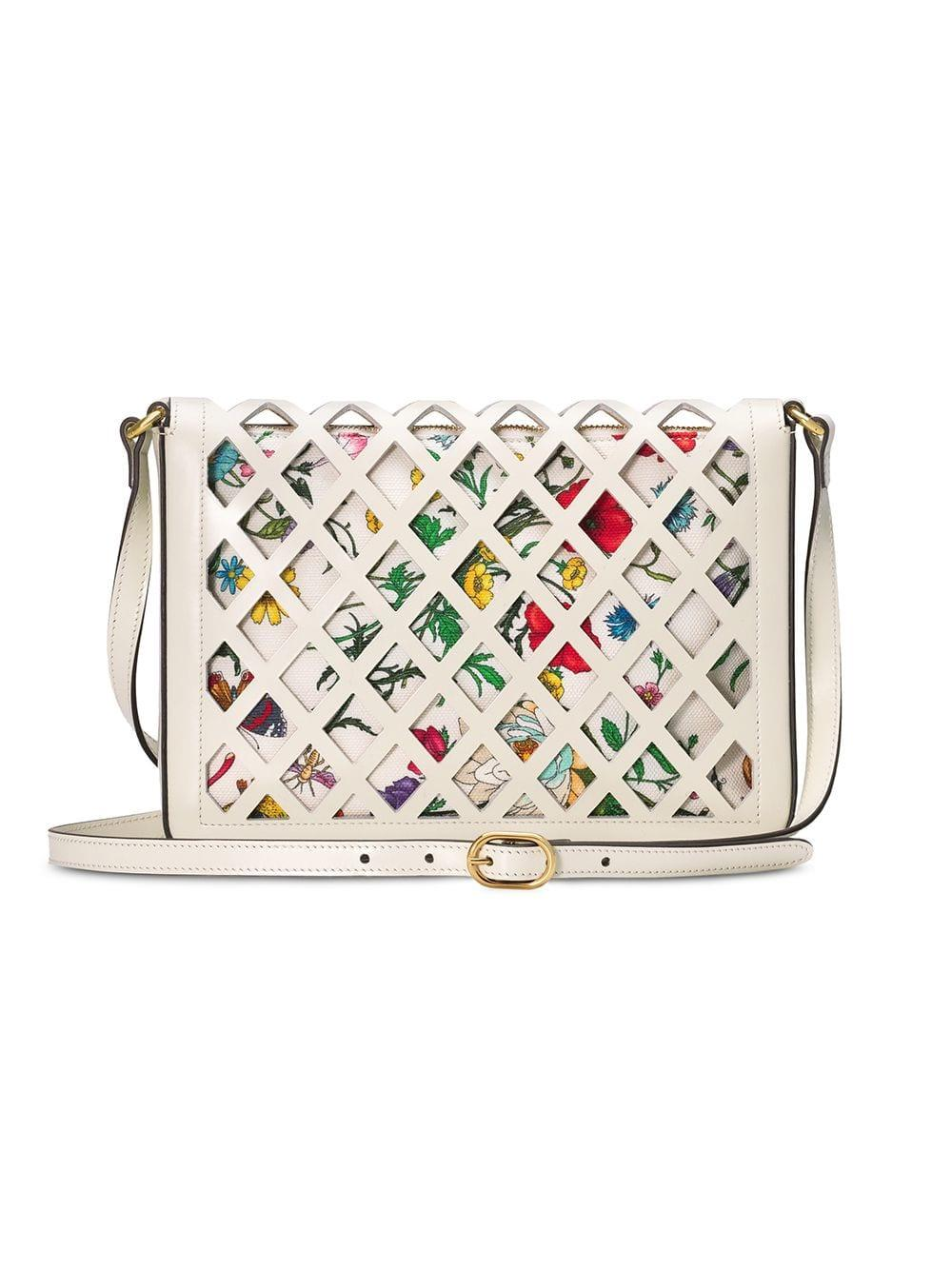 b505c5a87 Gucci Medium Cutout Leather Shoulder Bag in White - Lyst