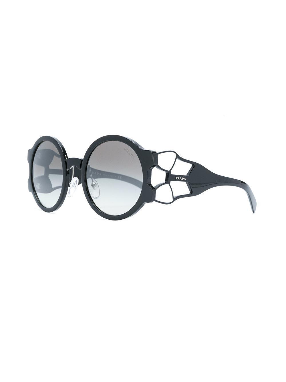 dfd6fd15b Prada Round Frame Sunglasses in Black - Save 13.765182186234824% - Lyst