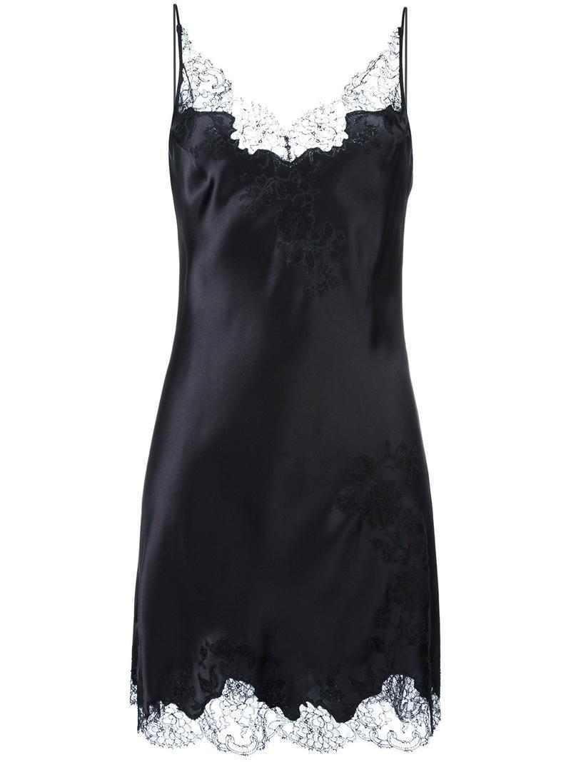 caa86f35b357 Carine Gilson Lace V-neck Slip in Black - Lyst