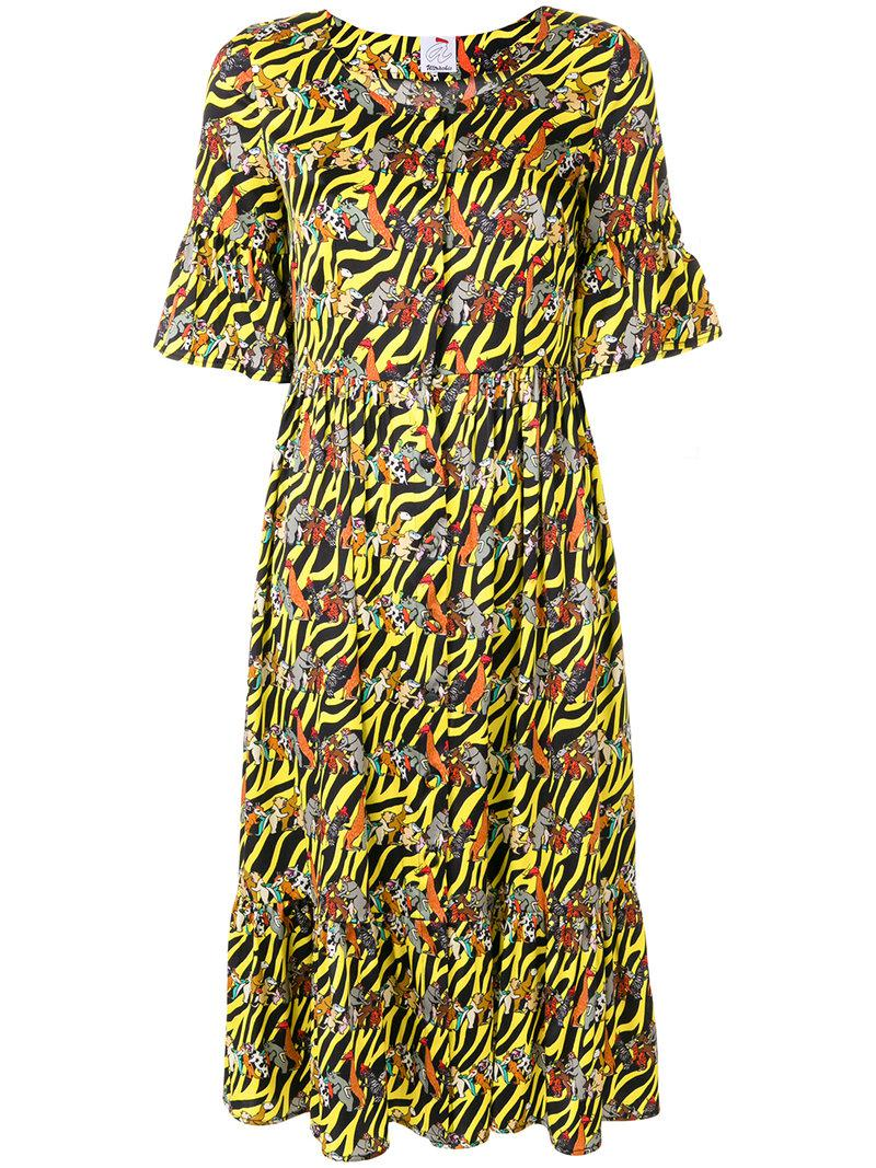 Visit New For Sale Cheap Sale Classic animals print shirt dress - Yellow & Orange Ultra Chic Fake Cheap Online Geniue Stockist For Sale RLrqmOsFs