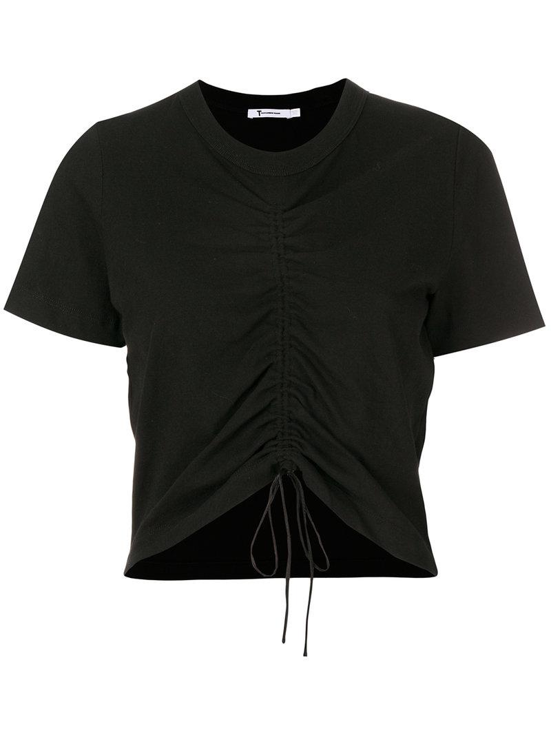 Lyst t by alexander wang gathered front t shirt in black for T by alexander wang t shirt