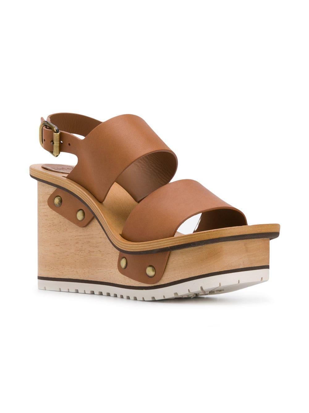 e76dd20c8783 Women s Brown Buckle Wedge Sandals
