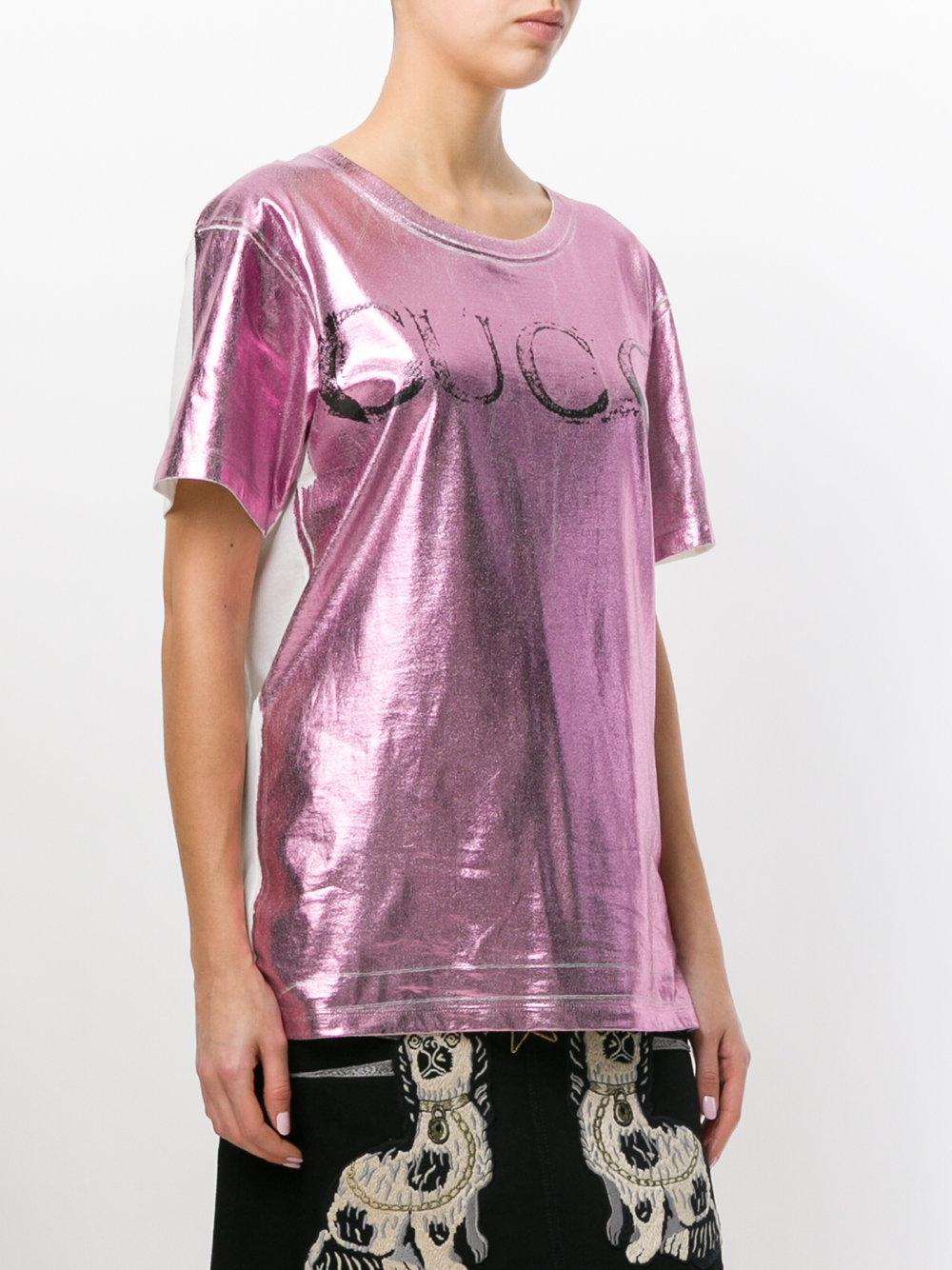 c4b44794a2da Gucci Metallic Faded Logo Print T-shirt in Pink - Lyst