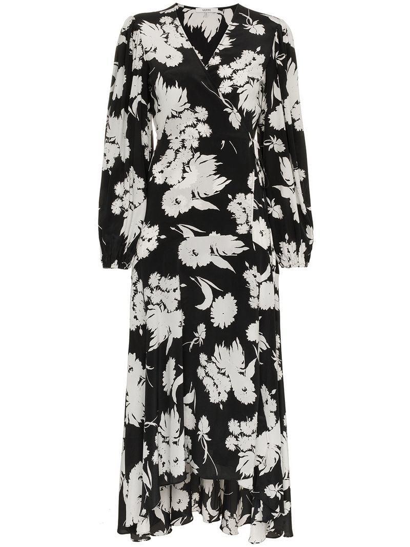 0d144a53 Lyst - Ganni Kochhar Floral Midi-dress in Black