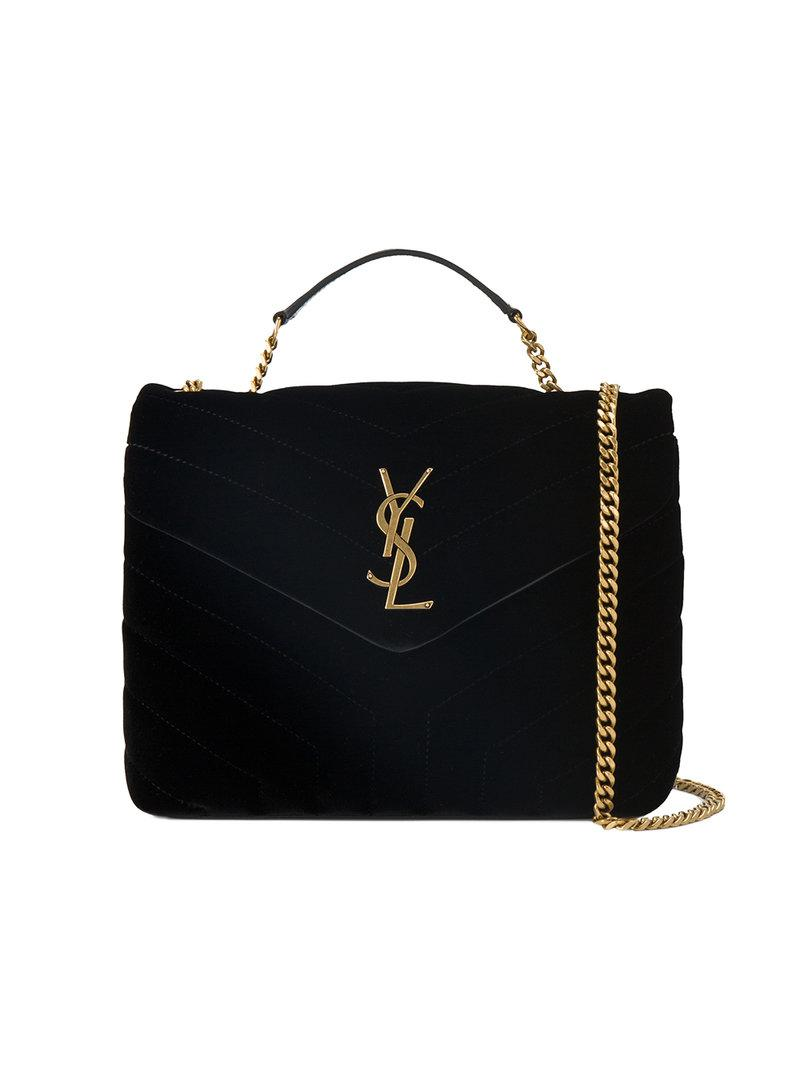 93abc1f5b0ff Saint Laurent Small Black Loulou Monogram Velvet Bag in Black - Lyst