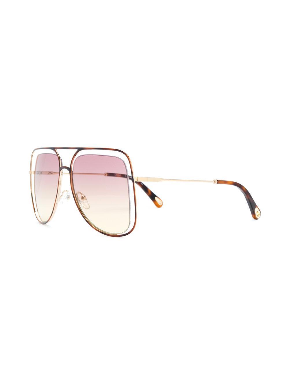89804b56f7a Chloé Floating Frame Sunglasses in Metallic - Lyst