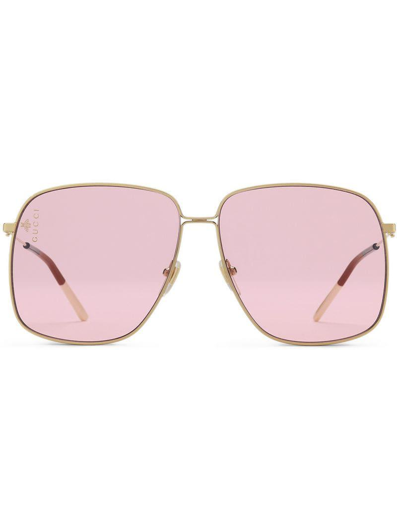 d5f4b43483ee Gucci Oversized Square-frame Sunglasses in Metallic - Lyst