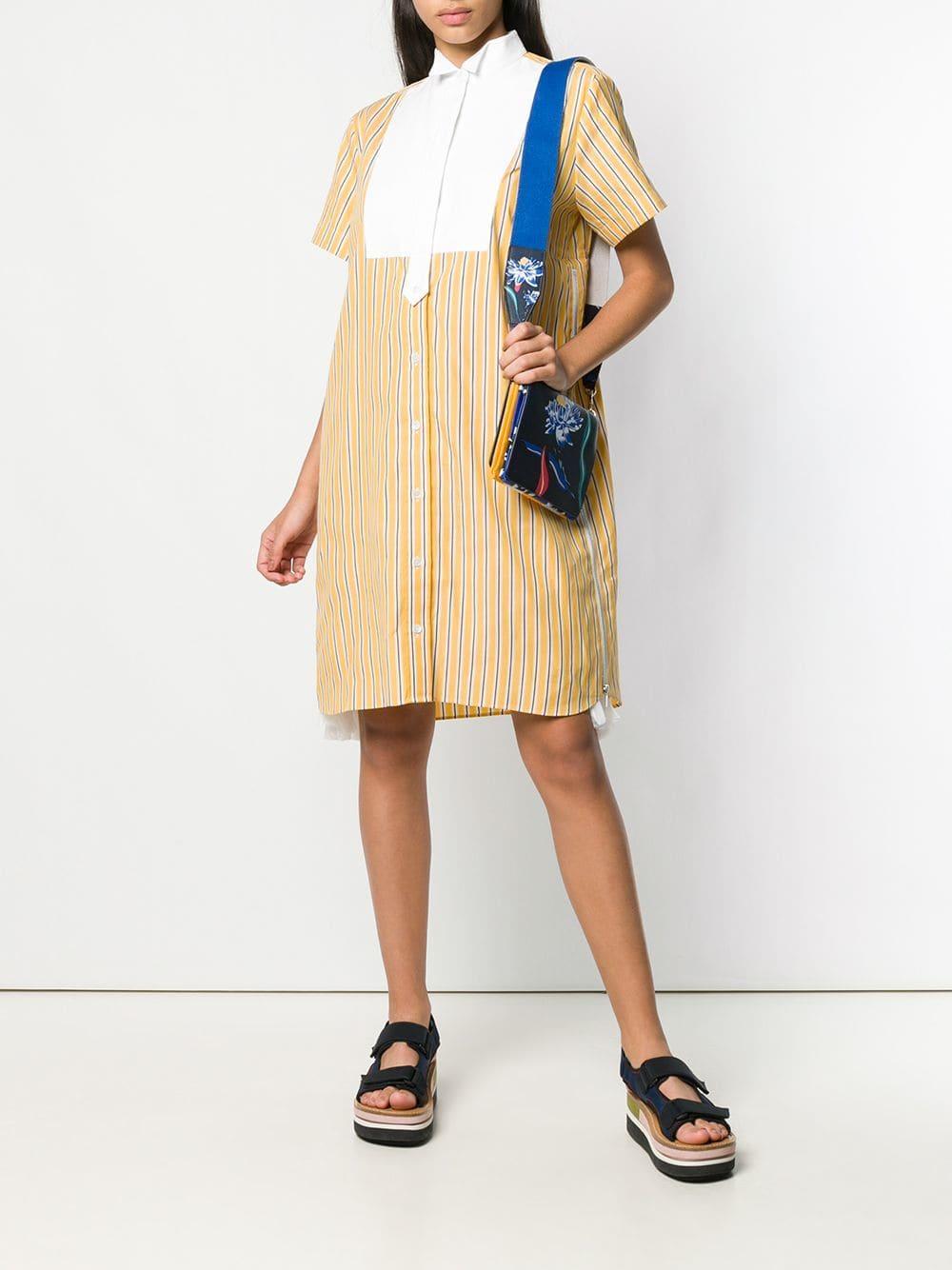899382642cca8 Lyst - Sacai Striped Shirt Dress in Yellow