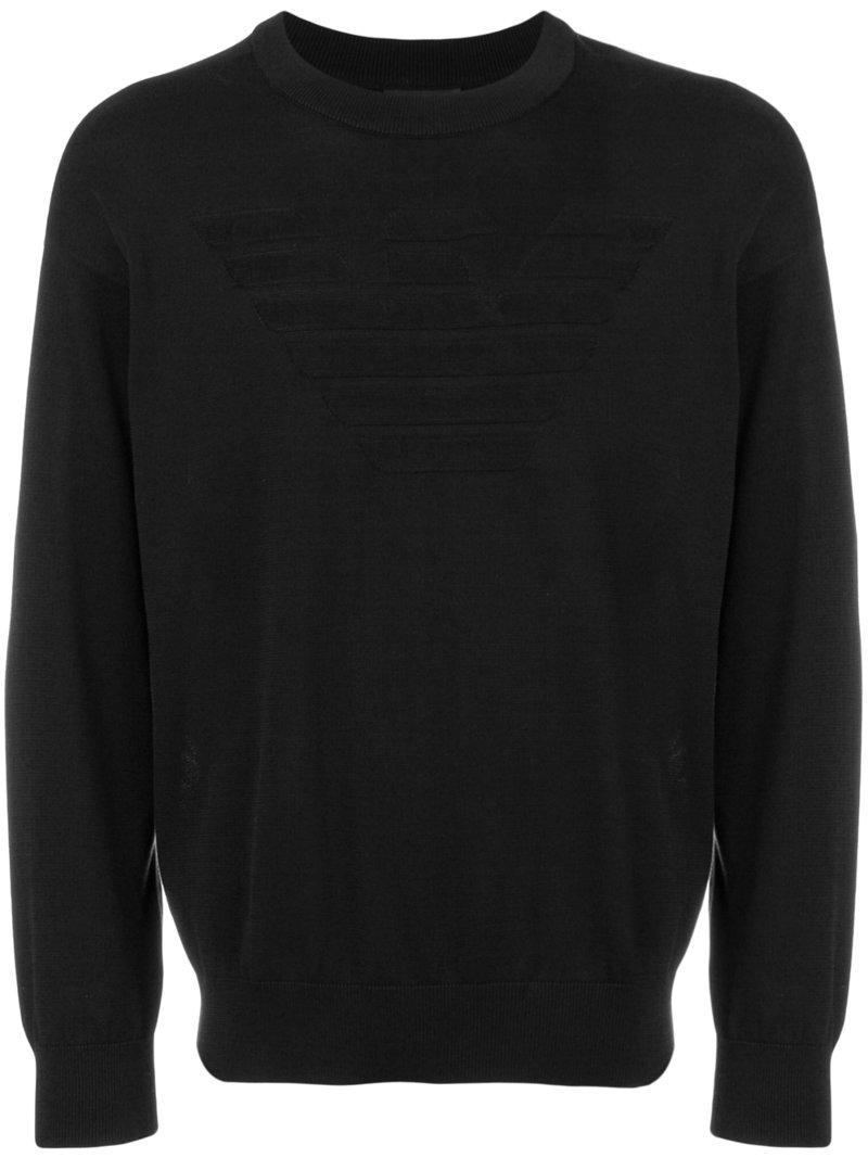 Lyst emporio armani logo sweatshirt in black for men - Emporio giorgio armani logo ...