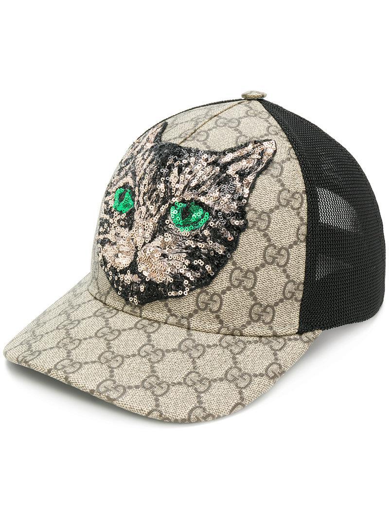 6eb57de2602 Gucci Gg Supreme Mystic Cat Baseball Hat for Men - Lyst