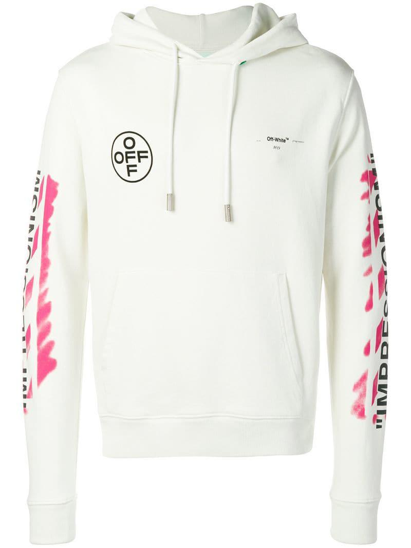 33072d0ace49 Lyst - Off-White c o Virgil Abloh Diag Stencil Slim Hoodie in White ...