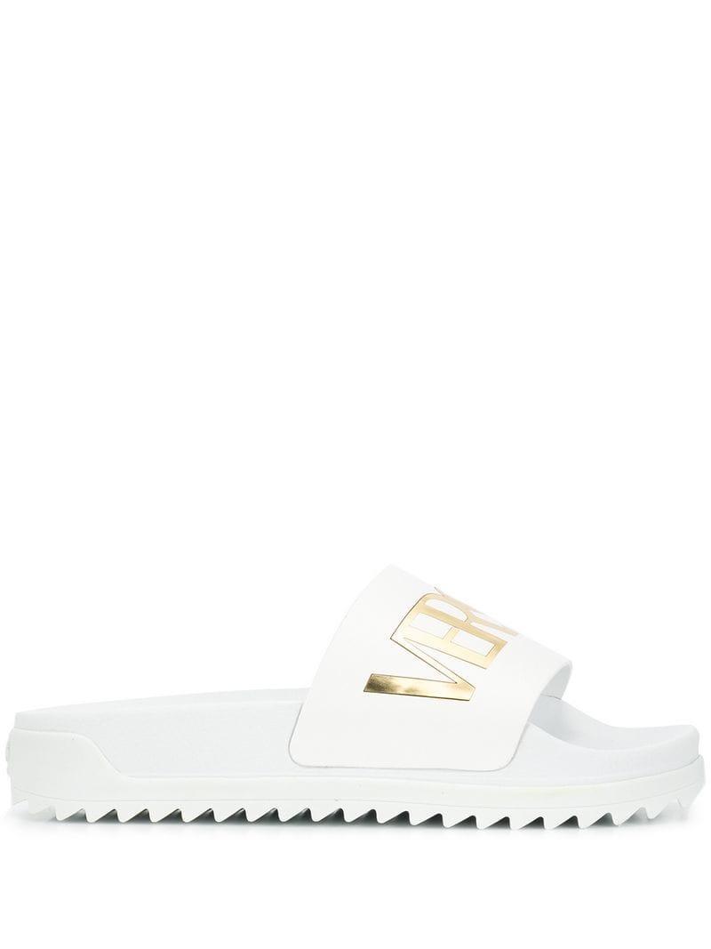 633dcd5387335 Versus Logo Slides in White for Men - Lyst