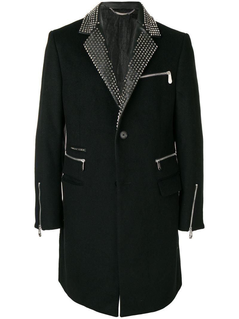 Plein Studded Philipp Star Coat Formal Black Men's dwIBU