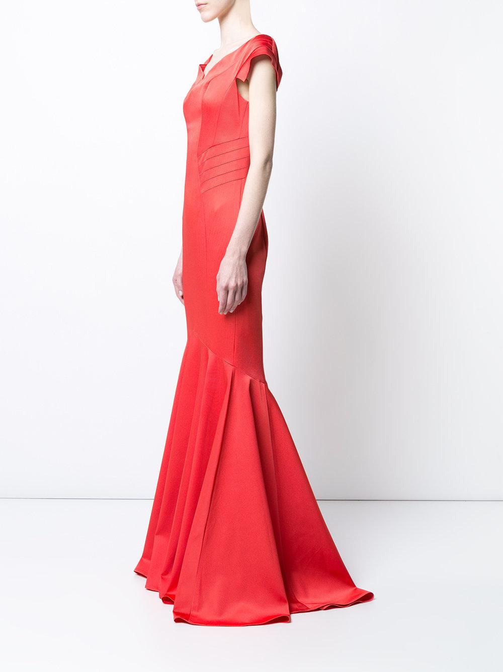 Low Shipping Fee Cheap Price Online Shop Trudy mermaid tail gown - Yellow & Orange Zac Posen 27xCEeb