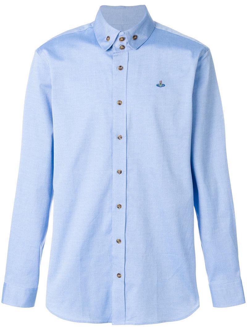 logo embroidered shirt - Blue Vivienne Westwood Clearance Finishline AVGFz