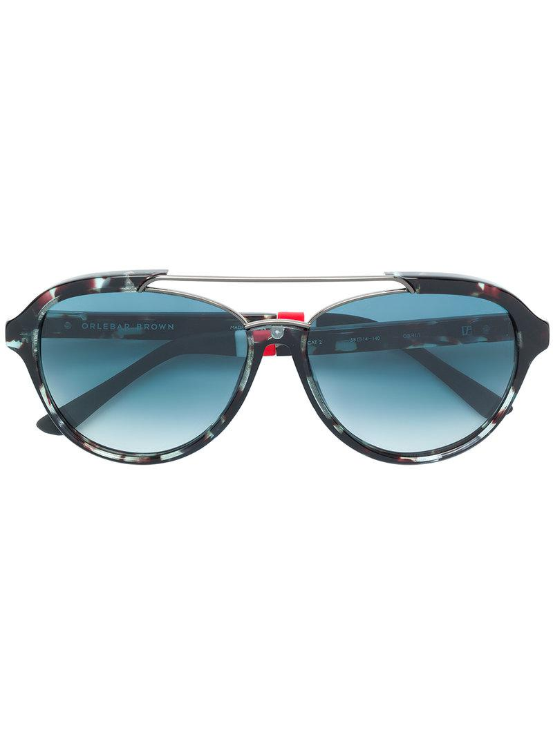5e75257977 Lyst - Orlebar Brown X Linda Farrow Square-frame Sunglasses in Blue ...