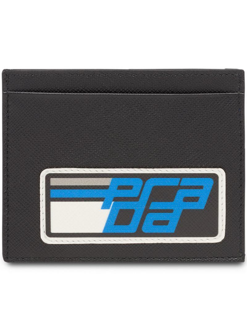 7619c7af21ca5e Prada Logo Cardholder Wallet in Black for Men - Lyst