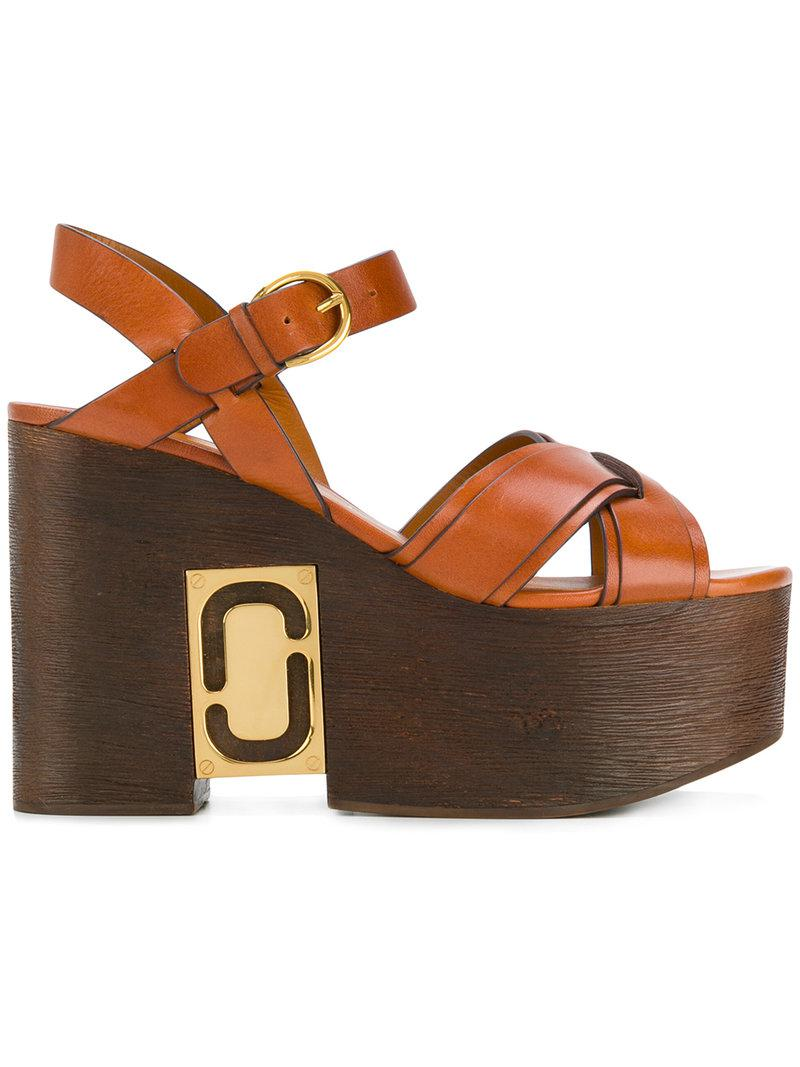 ed08ab4c2a6e Lyst - Marc Jacobs Paloma Status Wedge Sandals in Brown
