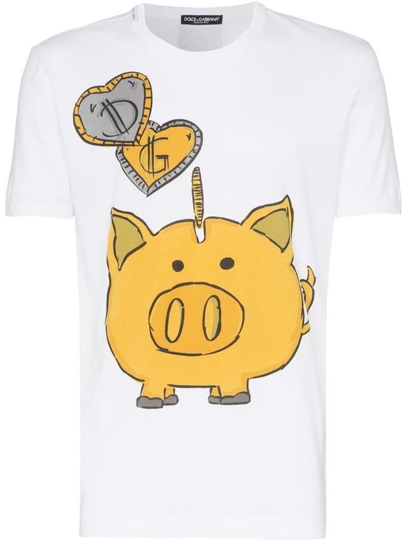 aca90364 Dolce & Gabbana Pig Graphic Cotton T-shirt in White for Men - Lyst