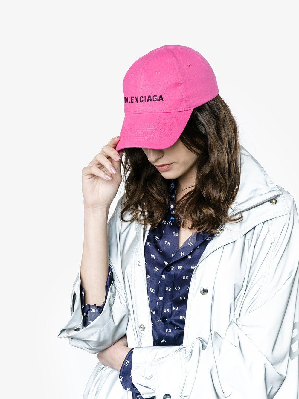402b1db03bc03 Balenciaga Pink Logo Embroidered Cap in Pink - Save 43% - Lyst