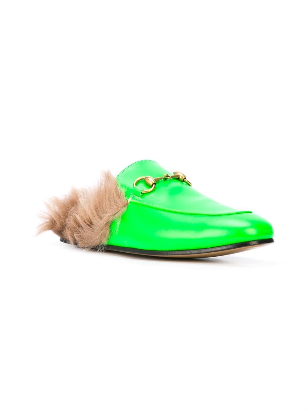 450df07d986 Lyst - Gucci Princetown Fur Lined Loafers in Green for Men