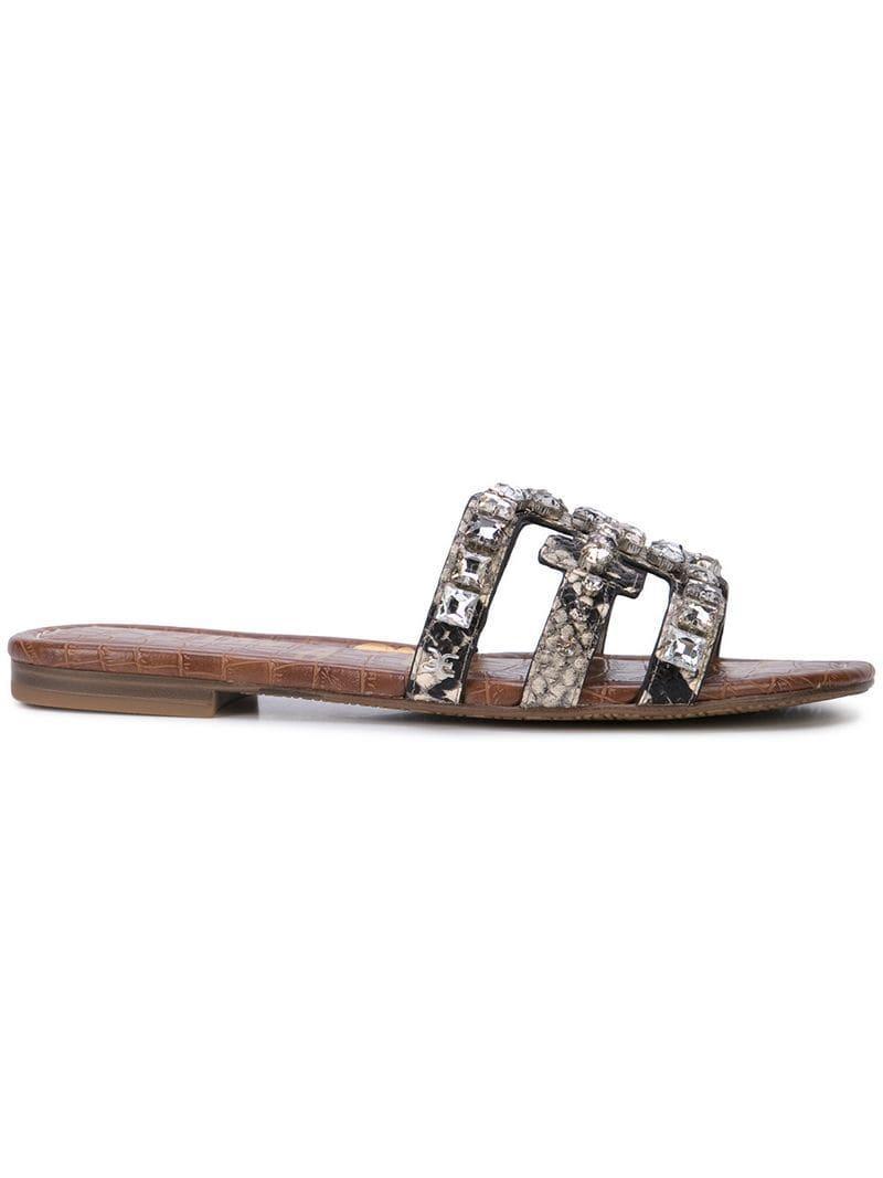 8cca1fe2696d Sam Edelman Putty Crystal Embellished Sandals in Metallic - Lyst