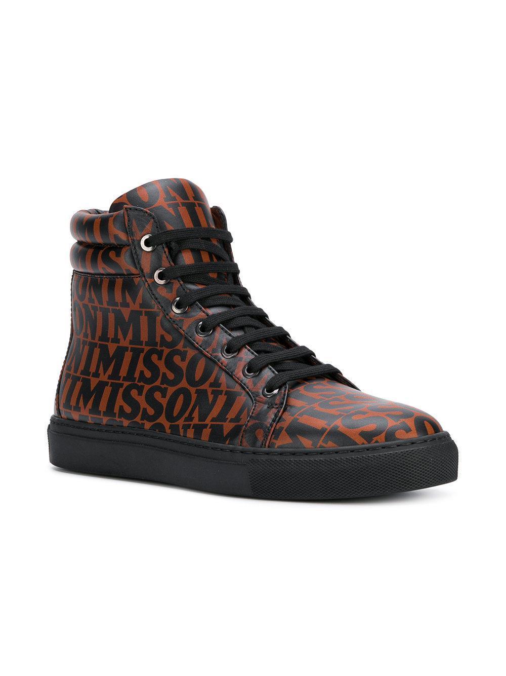 f717cfa415b72e Missoni Printed Hi-top Sneakers in Black for Men - Lyst