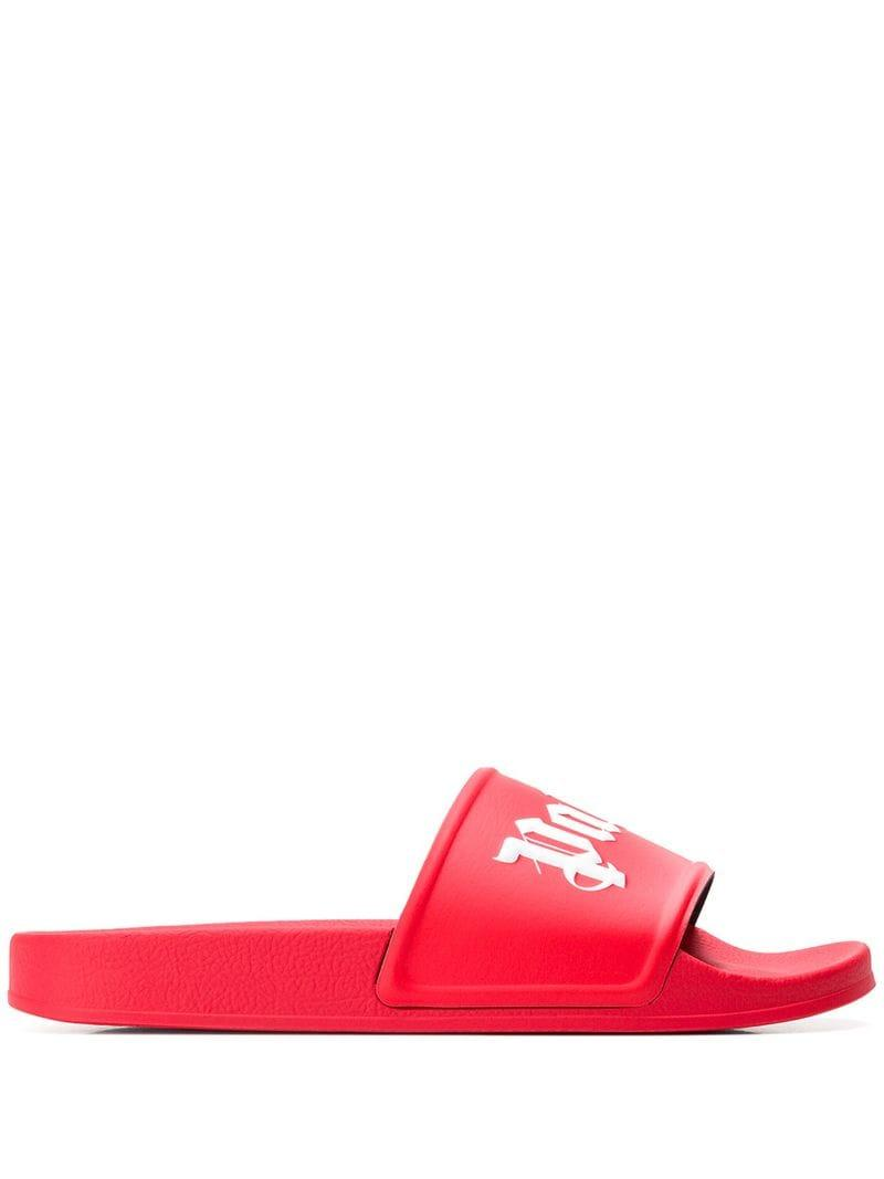 6f064fef166 Lyst - Claquettes à logo Palm Angels pour homme en coloris Rouge - 5 ...