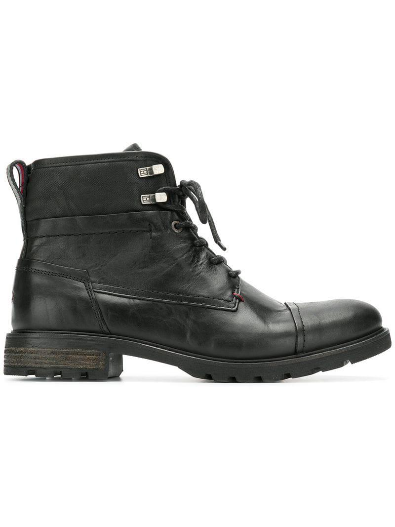 561022589a1d31 Lyst - Tommy Hilfiger Lace Up Ankle Boots in Black for Men