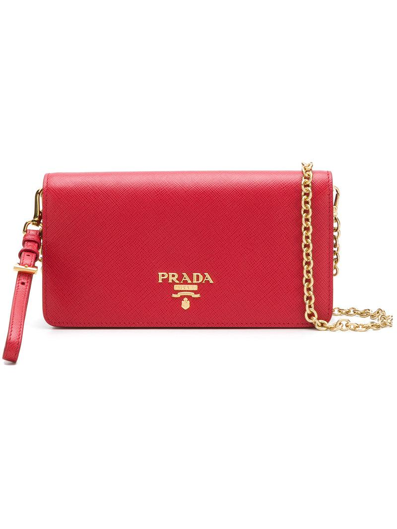 b93d91b665ee Prada - Red Mini Saffiano Chain Wallet - Lyst. View fullscreen