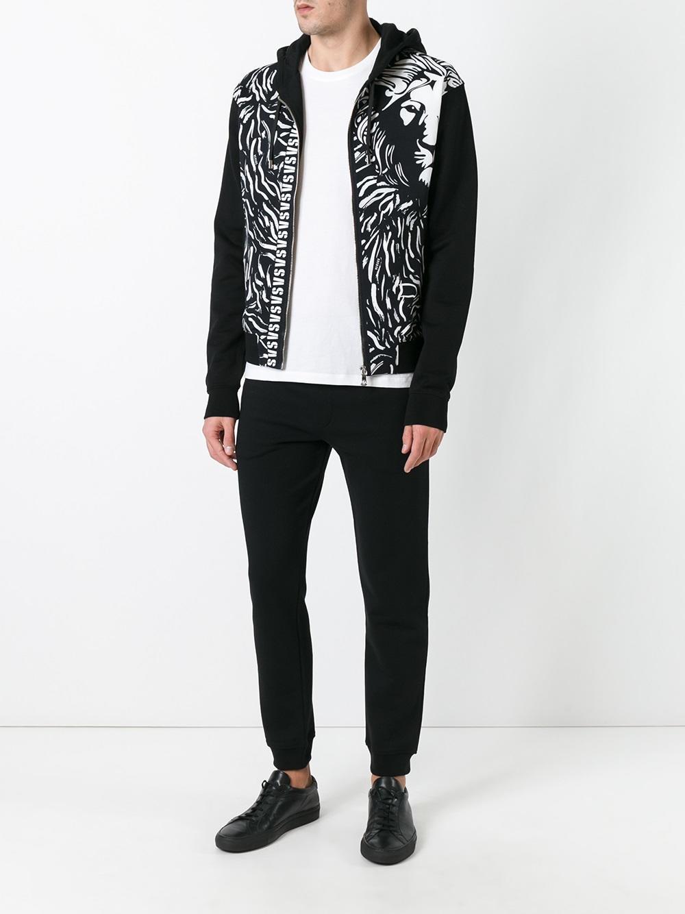 Versus Lion Print Hooded Cardigan in Black for Men | Lyst