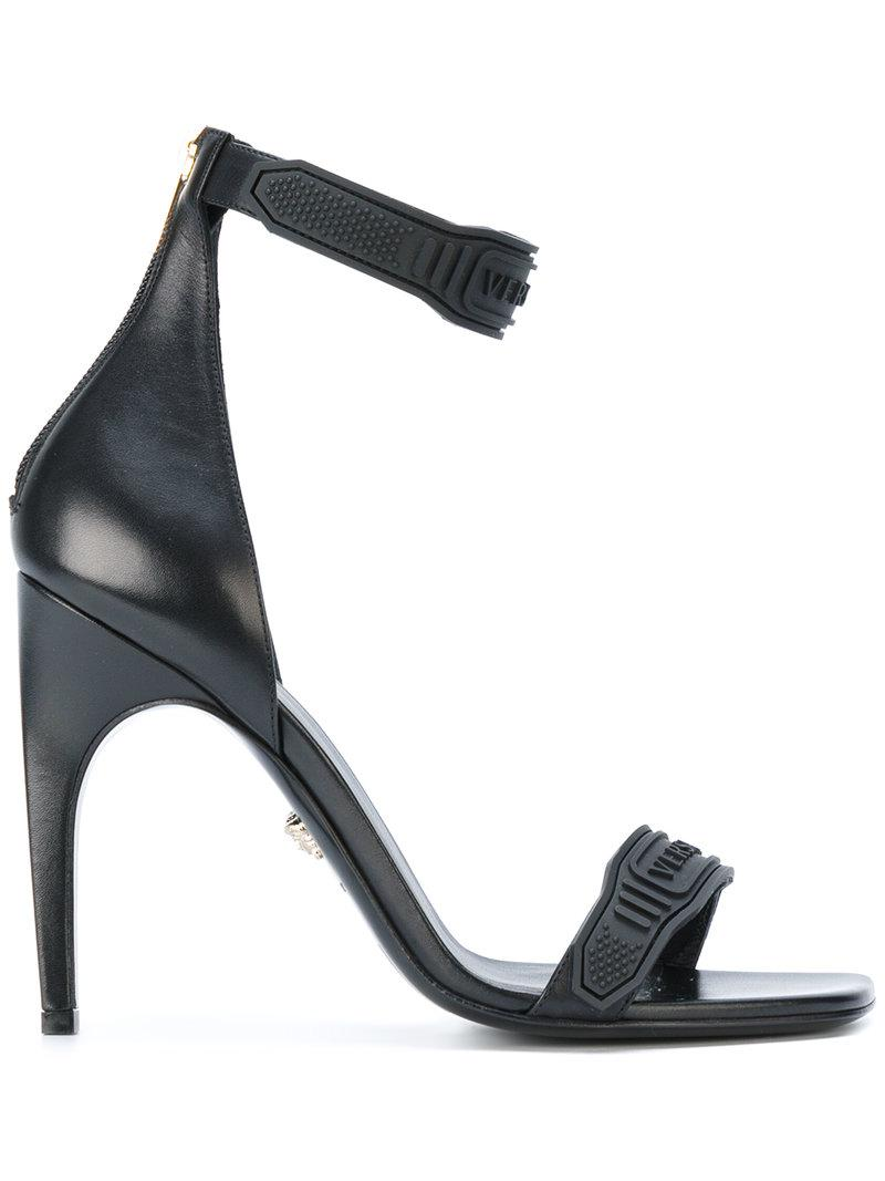 Versace Leather Logo Ankle Strap Sandals In Black Lyst