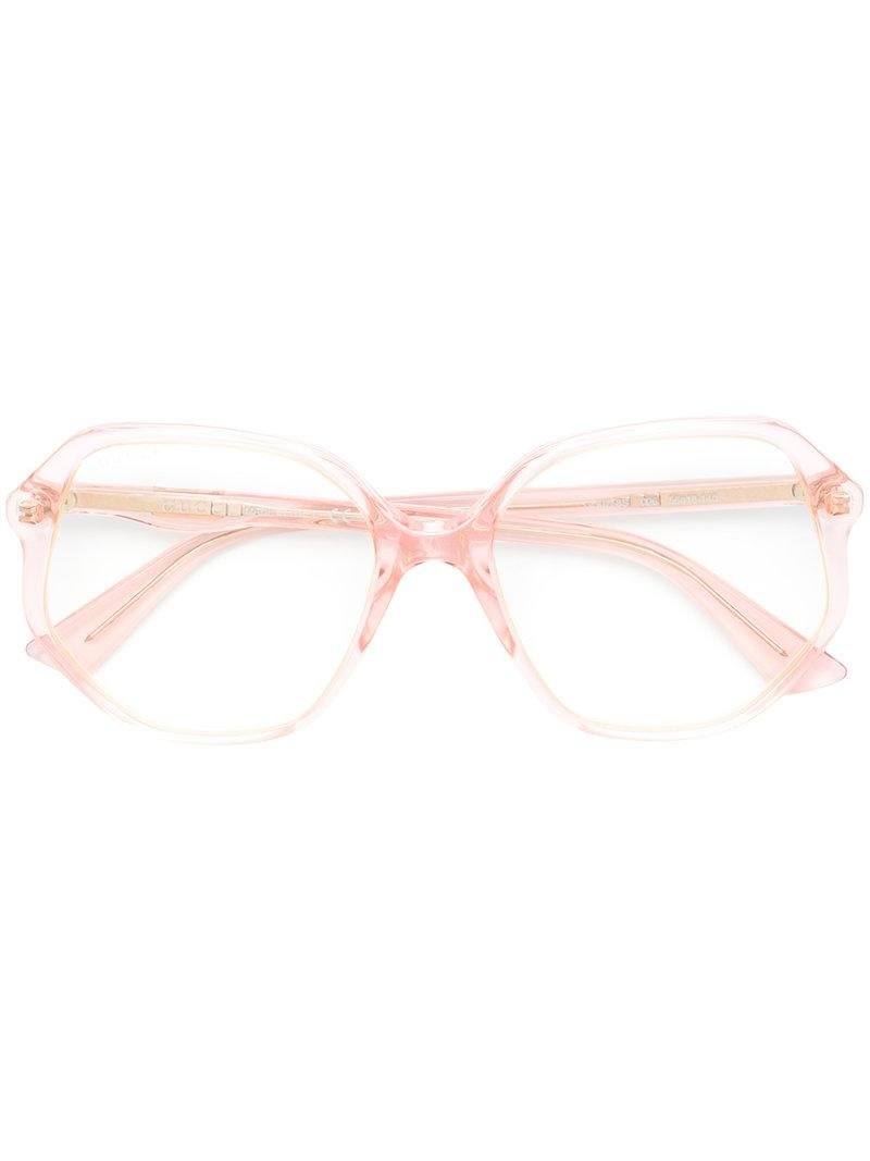 ab14c1ee65 Gucci Clear Oversized Sunglasses in Pink - Lyst