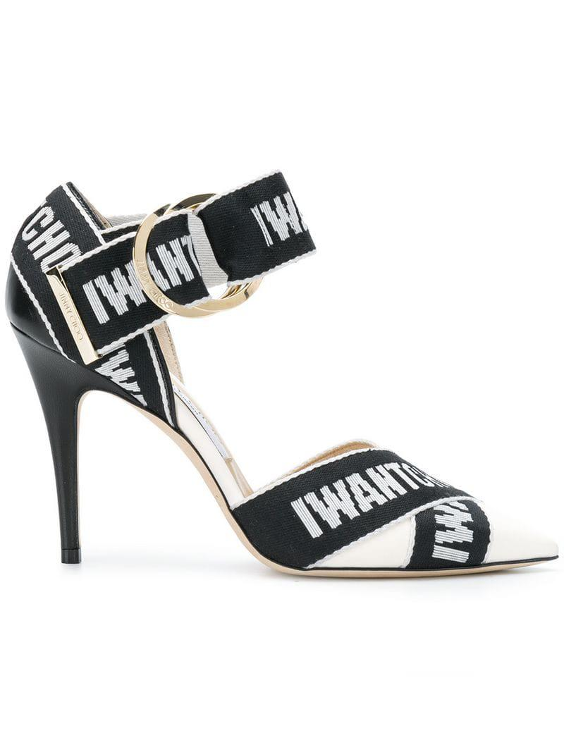 bcc5dfe6f54 Lyst - Jimmy Choo Bea 100 Black And White Logo Pumps in Black - Save 49%