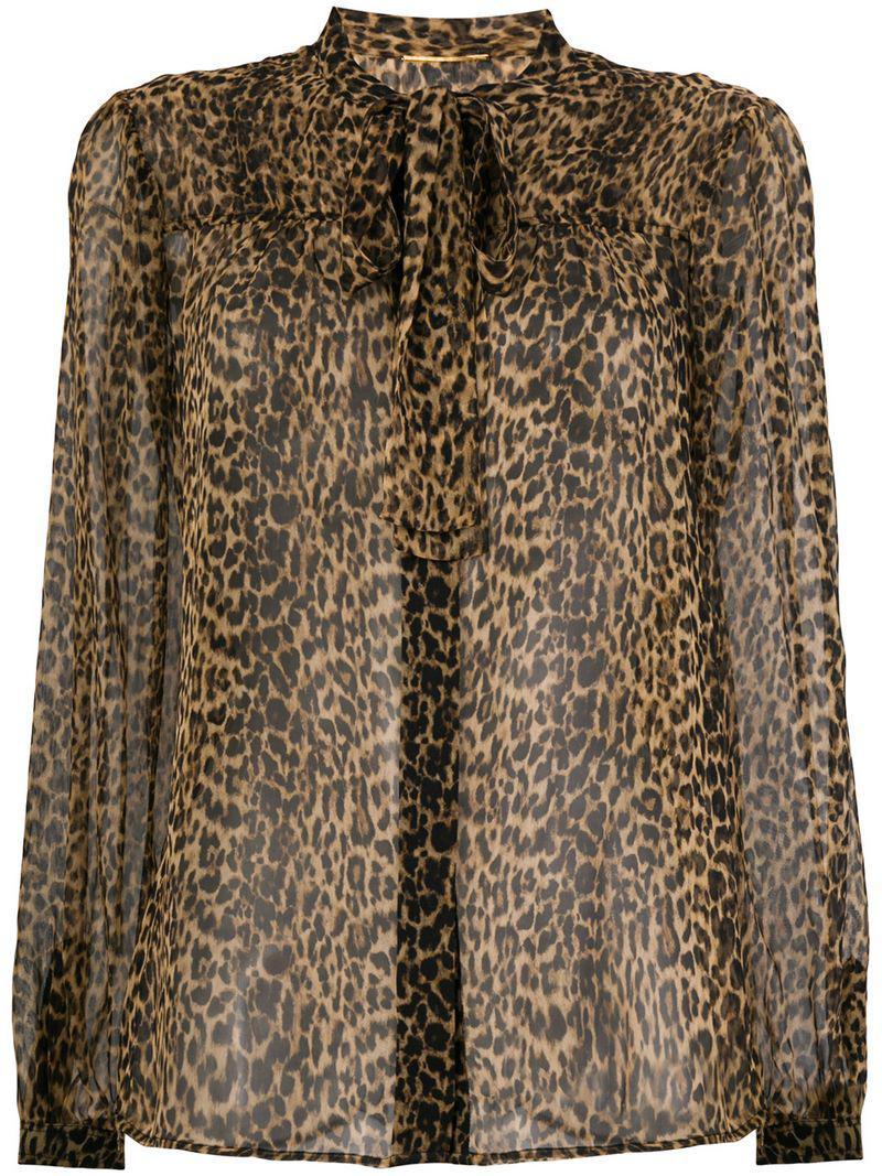 ad369175 Saint Laurent Leopard Printed Blouse in Brown - Lyst