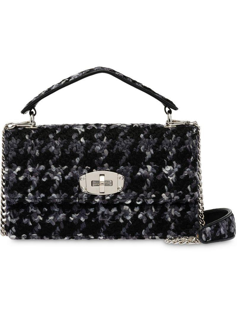 cda19443a151 Miu Miu Miu Cleo Bouclé Shoulder Bag in Black - Lyst