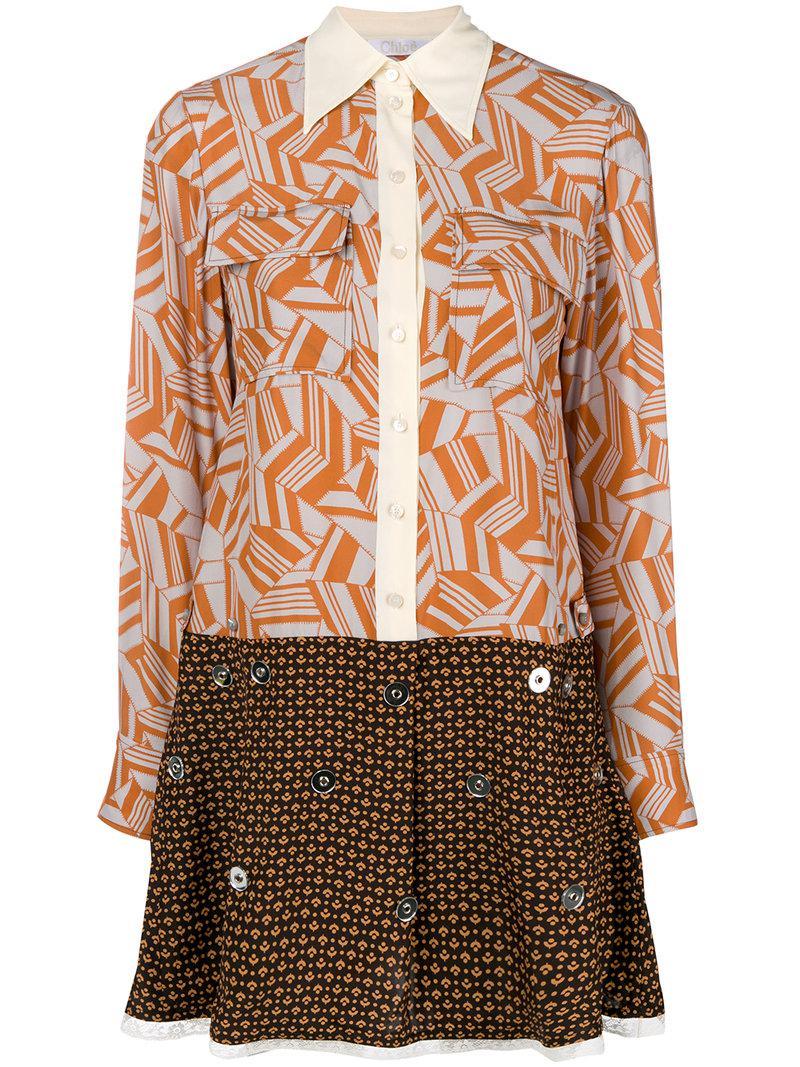 printed flared dress - Brown Chlo Kmf55YyD9