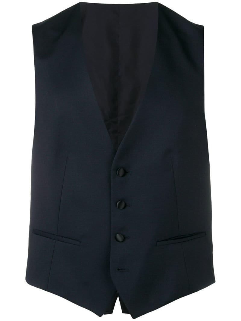 6862d7ed5f1 Lyst - Z Zegna Fitted Button Waistcoat in Blue for Men