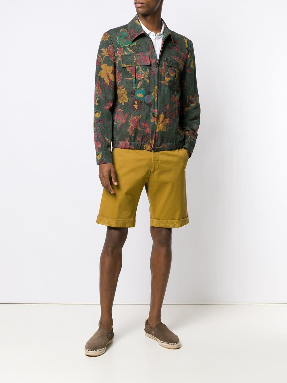 6a88d2975f Lyst - Etro Floral Print Zipped Jacket in Green for Men