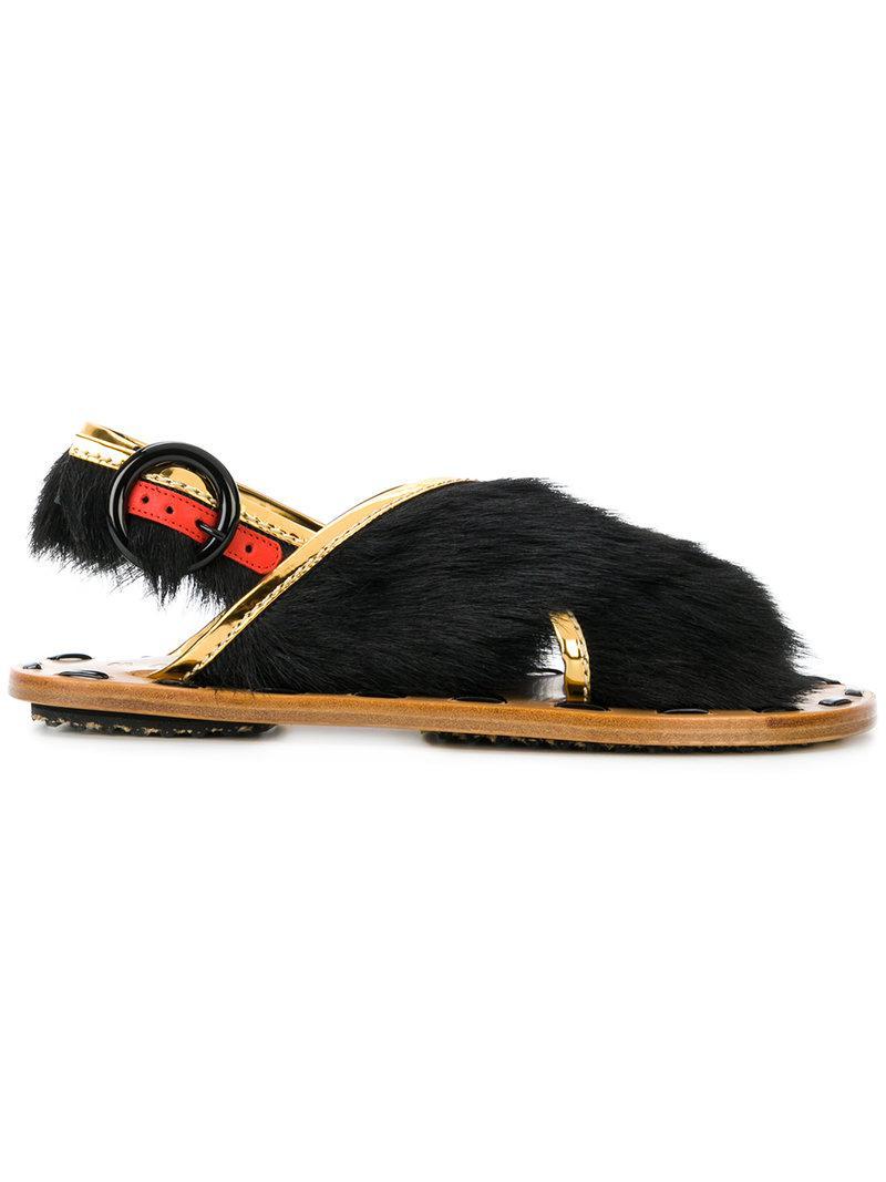 Marni Crossover fur sandals UKUC5k