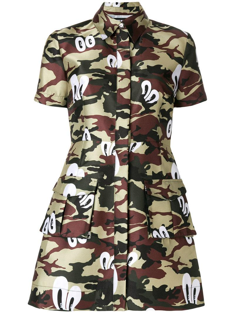 Lyst house of holland camouflage print shirt dress in green for Green camo shirt outfit