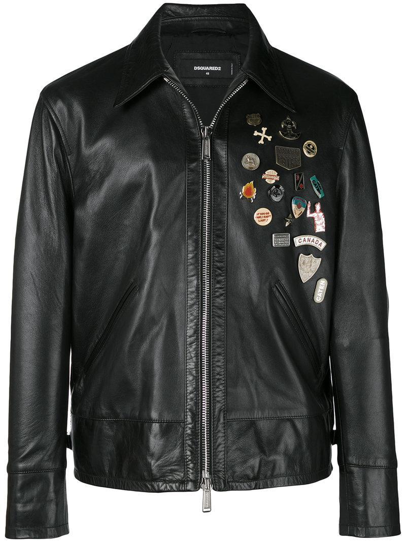 11c1009604126f DSquared² Embellished Leather Jacket in Black for Men - Lyst