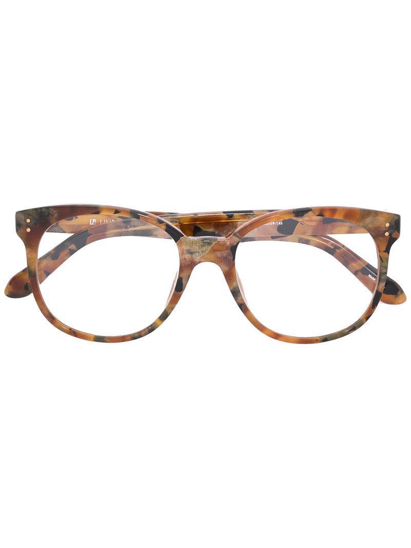d623e0144c8 Linda Farrow Turtle Print Glasses in Brown - Lyst