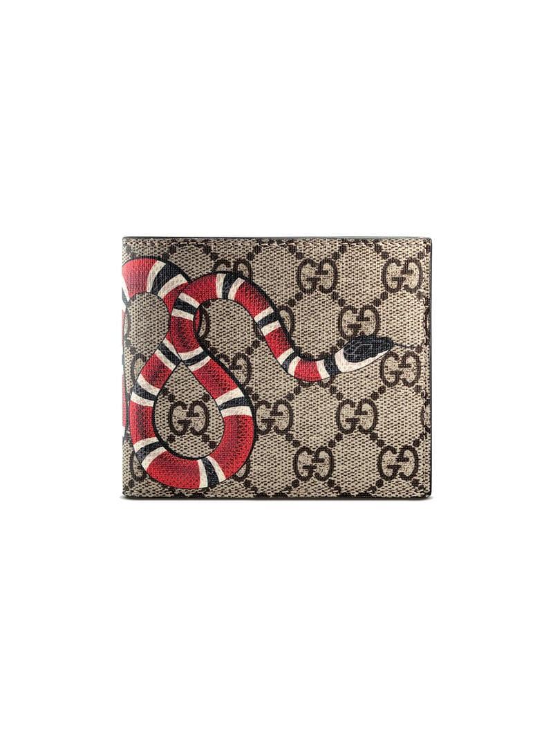 63c102ee27b2 Gucci Gg Supreme And Kingsnake Print Bi Fold Wallet for Men - Lyst